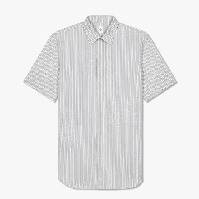 ストライプ スクリットジャカード コットンシャツ, LIGHT GREY, hi-res