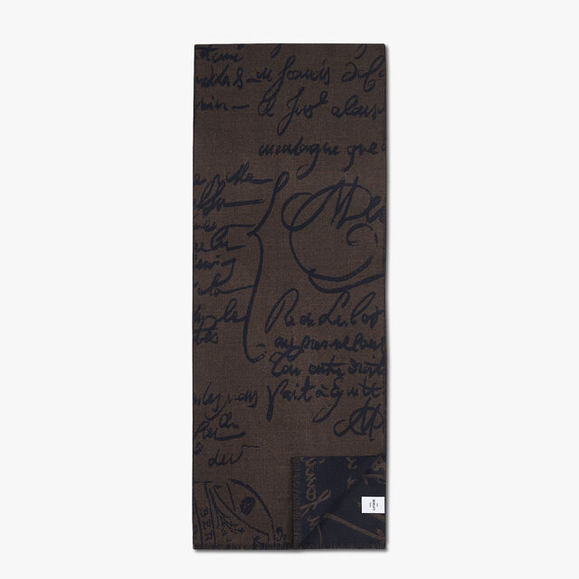 Rectangular Bicolor Jacquard Scritto Wool Scarf, EQUINOX BROWN, hi-res