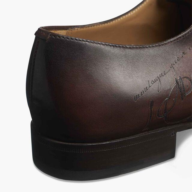 Cursive Galet Scritto Calf Leather Derby, EBANO, hi-res