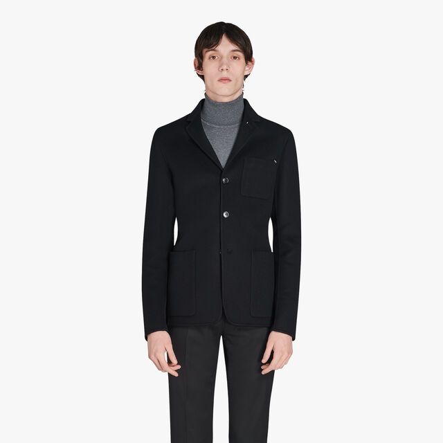 Cashmere Jacket With Leather Details, NOIR, hi-res