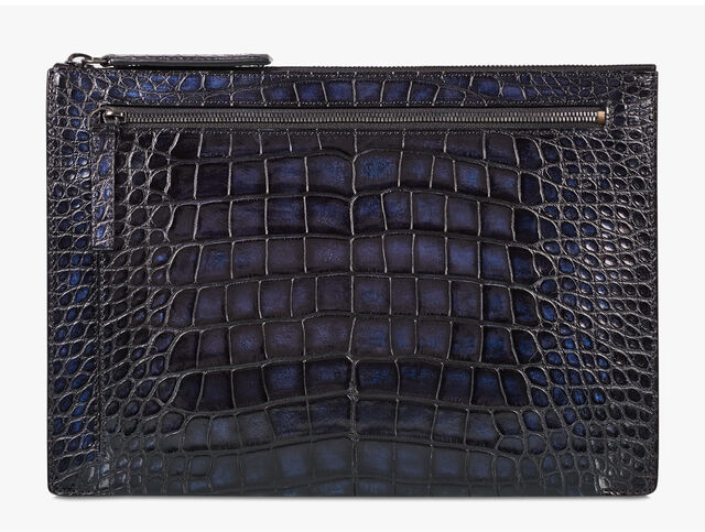 Band Large Alligator Leather Clutch, NERO BLU, hi-res