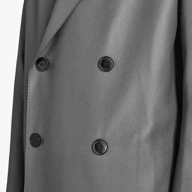 Long Double Breasted Deer Leather Coat, DARK LEAD, hi-res