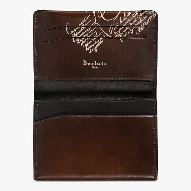 Vision Epure Scritto Leather Card Holder, BRUN+IVORY, hi-res