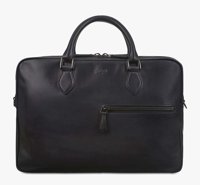 F088 Leather Briefcase, NERO GRIGIO, hi-res