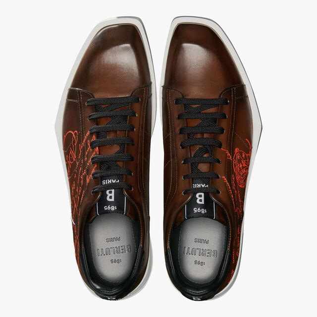 Stellar Scritto Leather Sneaker, BRUN, hi-res