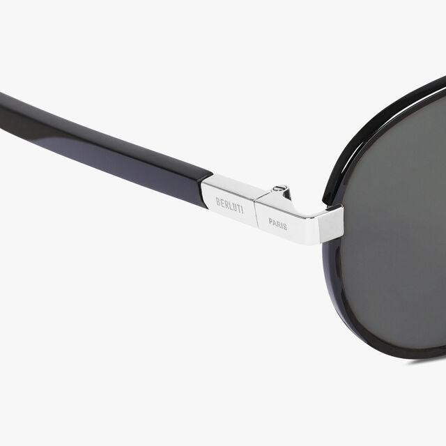 Spectre Round Shape Metal And Acetate Sunglasses, BLACK, hi-res
