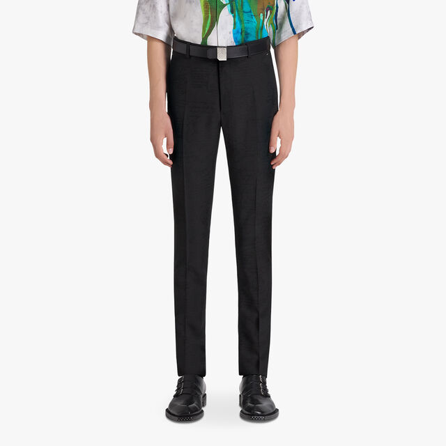 Formal Jacquard Scritto Virgin Wool Pants, NOIR, hi-res