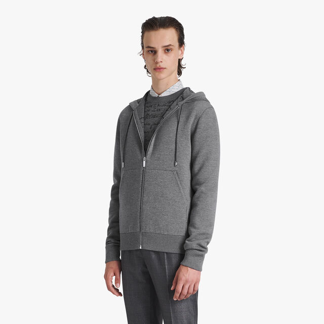 Light Wool Double Face Hoodie, PEWTER GREY, hi-res