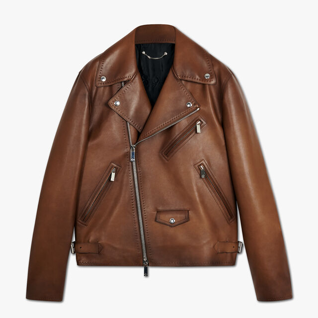 Patinated Leather Perfecto, BRUN, hi-res