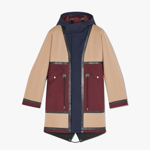 Color Block Wool Parka With Leather Details
