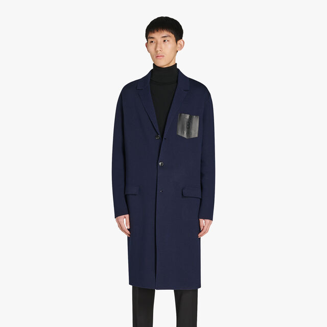 Regular Fit Long Wool Bicolor Jacket With Leather Chest Pocket, PLEIADES, hi-res