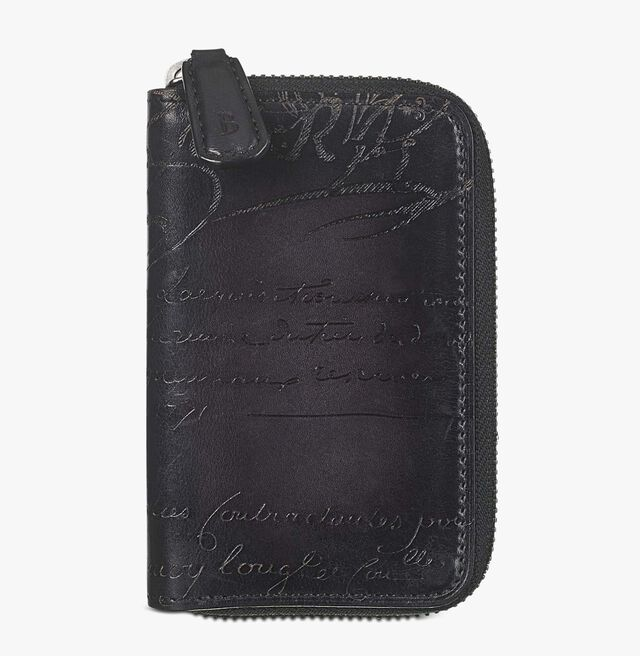 Koto Scritto Leather Zipped Key Ring, NERO GRIGIO, hi-res