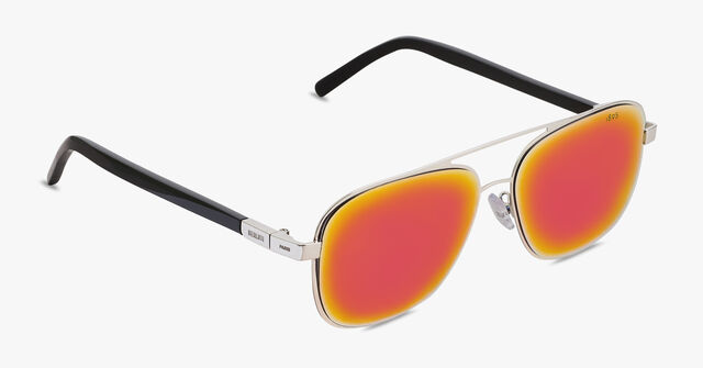 Shine Square Aviator Shape Metal And Acetate Sunglasses, PALLADIUM, hi-res