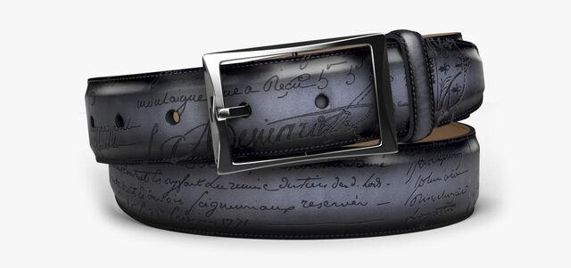 Classic Scritto Leather Belt - 35 mm, NERO, hi-res