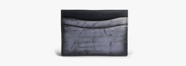 Bambou Scritto Leather Card Holder, NERO, hi-res