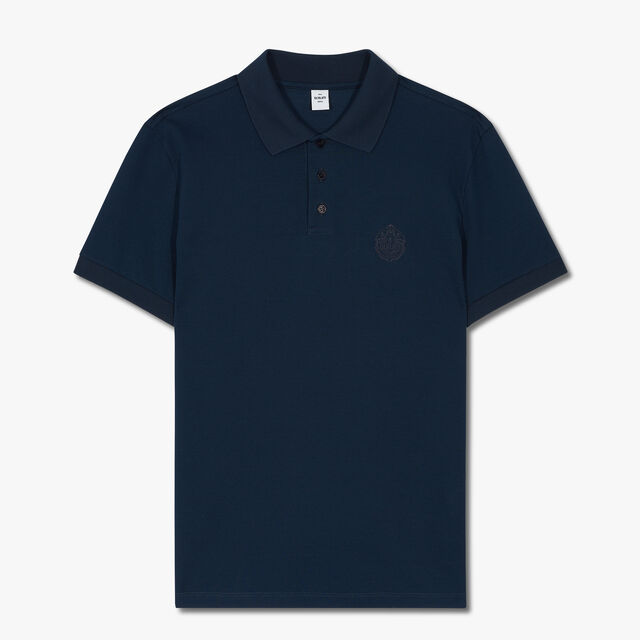 Polo Shirt With Embroidered Crest, ATLANTIC BLUE, hi-res
