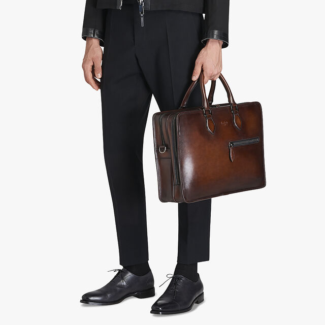Deux Jours Leather Briefcase, MOGANO, hi-res