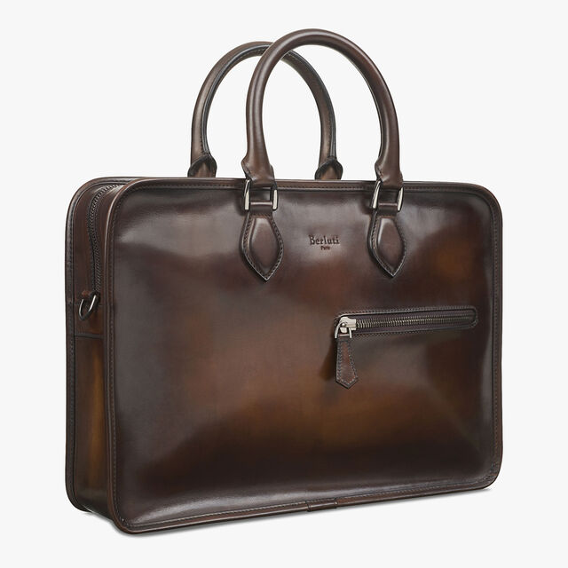 Cartable Un Jour Medium En Cuir De Veau, TOBACCO BIS, hi-res