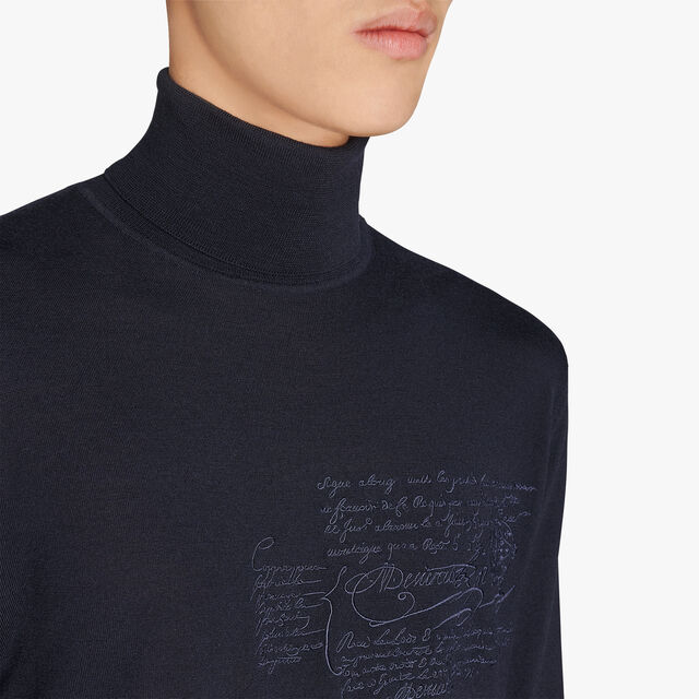 Regular Fit Scritto Embroidered Turtle Neck Wool Sweater, ULTRAMARINE, hi-res