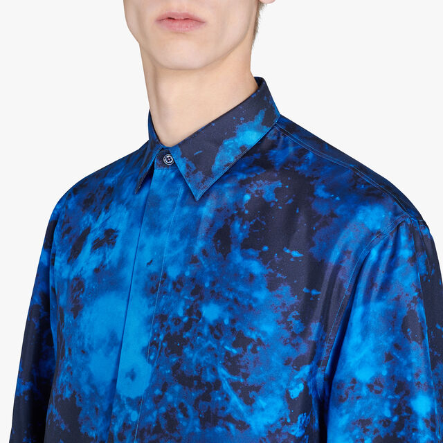 Marble Printed Silk Shirt, MARBLE CAOS NIGHT, hi-res