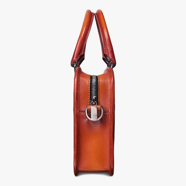 Un Jour Gulliver Scritto Leather Messenger Bag, NESPOLA ORANGE, hi-res