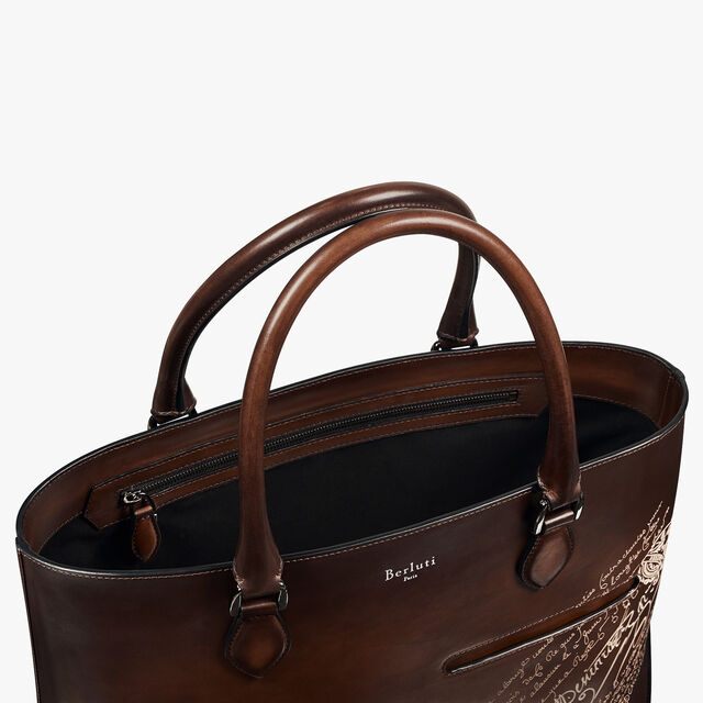 Toujours Scritto Leather Tote Bag, BRUN+IVORY, hi-res