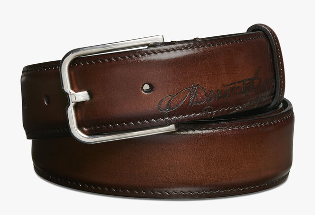 Essence Scritto Leather Belt - 32 mm, MOGANO, hi-res