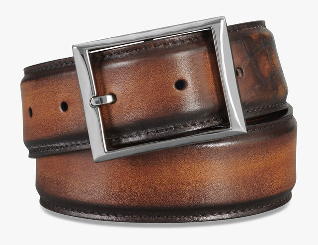 Classique Leather 35MM Patina Illusion Belt, TOBACCO BIS, hi-res