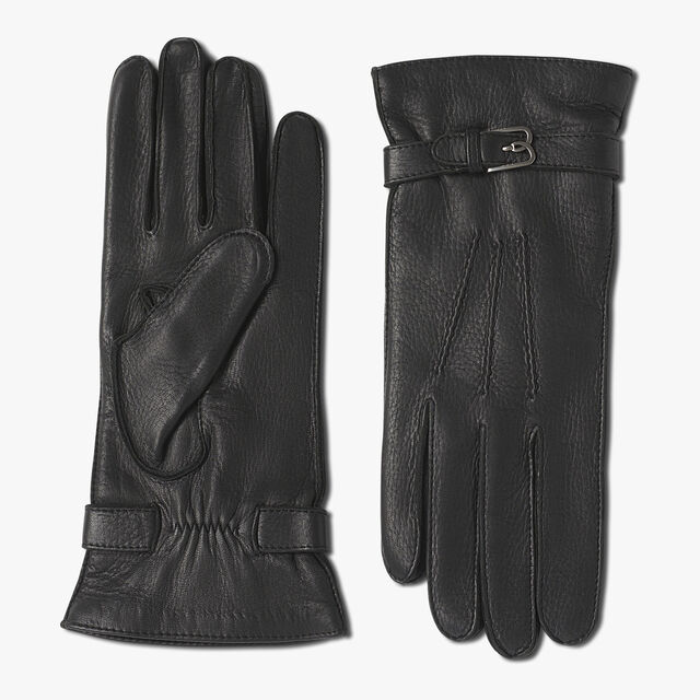 Deer Lamb Leather Gloves, BLACK, hi-res