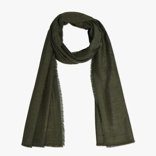 羊绒混纺Scritto围巾, OLIVE, hi-res