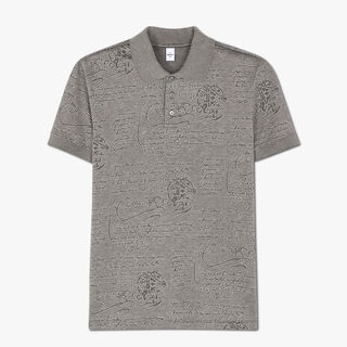 Regular Fit Short Sleeves Jacquard Scritto Polo Shirt