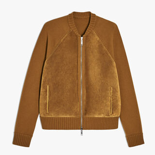 Calfskin Suede and Cashmere Zip-Up Cardigan, AMBER, hi-res