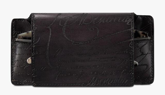 Scritto Leather Sunglasses Case, DEEP BLACK, hi-res