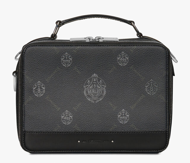 Take Off Small Canvas And Leather Briefcase, BLACK+TDM INTENSO, hi-res