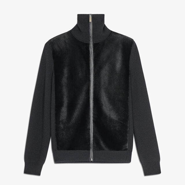 Zipped Wool And Kangaroo Fur Cardigan, NOIR, hi-res