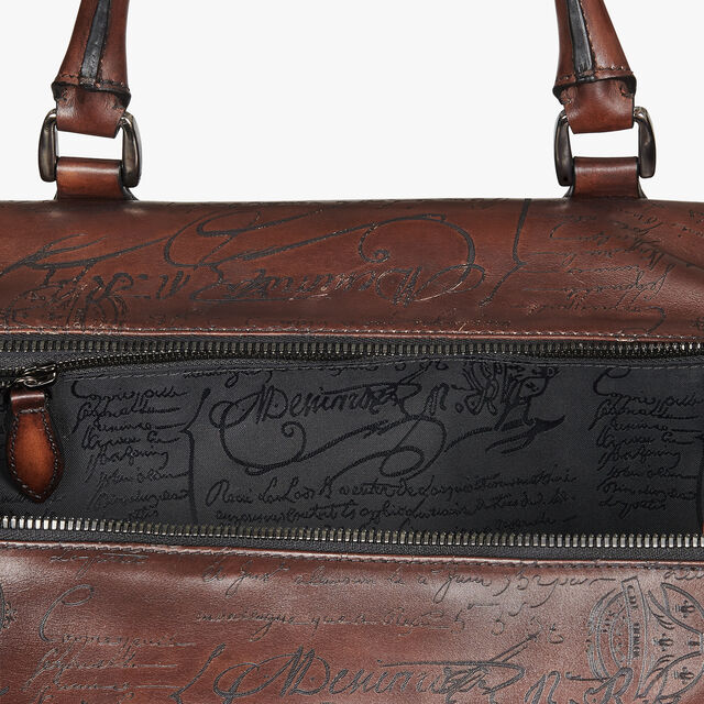 Jour Off Medium Scritto Leather Travel Bag, MOGANO, hi-res