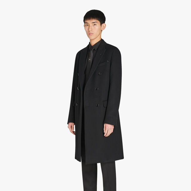 Long Formal Cashmere Double Breasted Coat, NOIR, hi-res