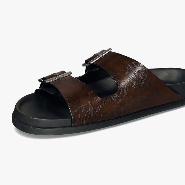 Egio 刻花 Venezia小牛皮凉鞋, BRUN, hi-res