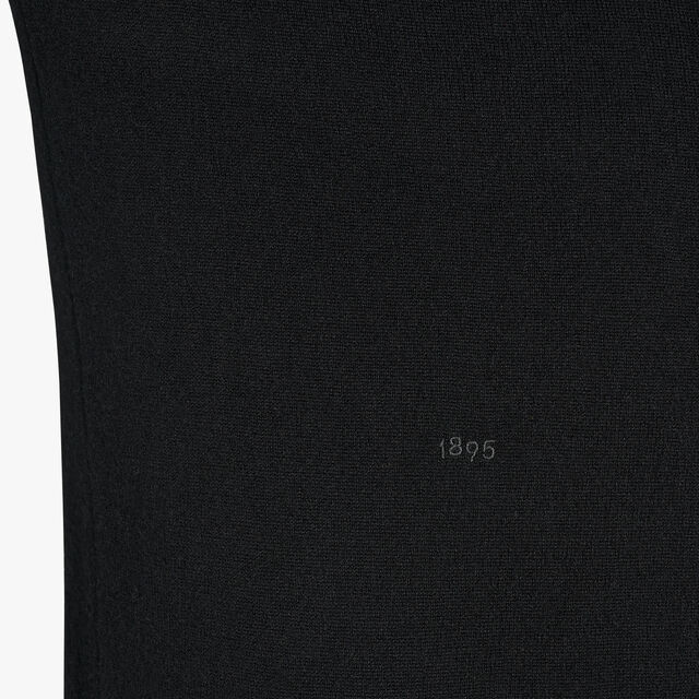 Regular Fit Cashmere Sweater With Embroidered Logo, NOIR, hi-res