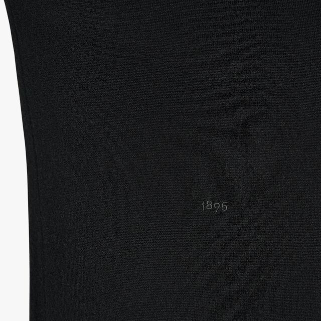 刺繍ロゴ付きレギュラーフィット 長袖カシミヤセーター, NOIR, hi-res