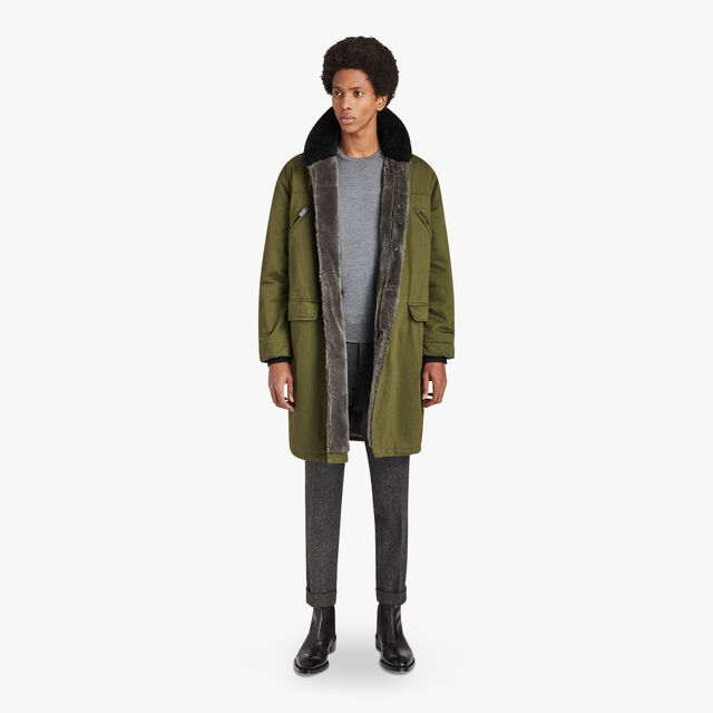 Oversize Military Cotton Parka With Leather Details, KAKI, hi-res