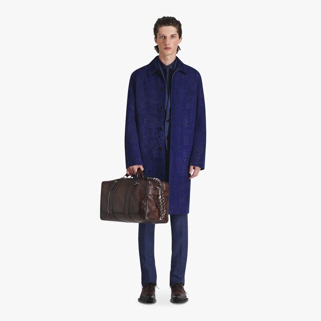 Jacquard Scritto Silk Shirt, MIDNIGHT BLUE, hi-res