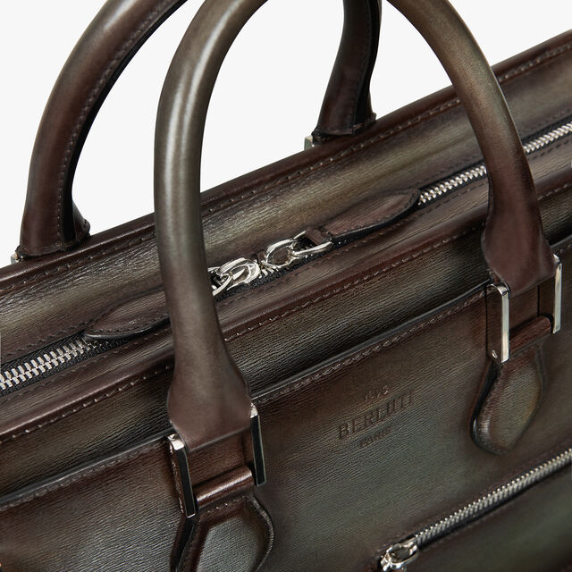 Un Jour Embossed Leather Briefcase, ICE BROWN, hi-res