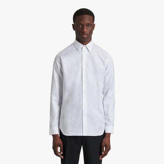 Jacquard Check With Printed Scritto Shirt, BLANC OPTIQUE, hi-res