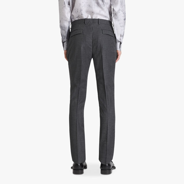 Formal Jacquard Scritto Virgin Wool Pants, DARK GREY MELANGE, hi-res