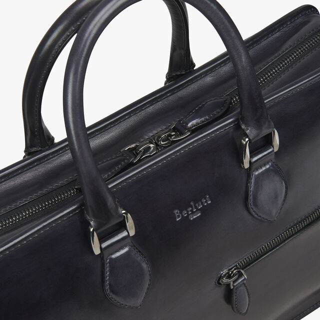 Un Jour Medium Leather Briefcase, DEEP BLACK, hi-res