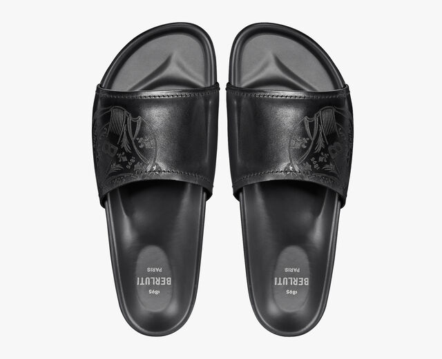 Egio Stamp Leather Sandal, JET BLACK, hi-res