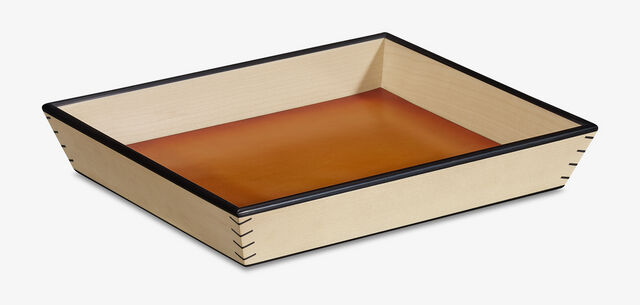 Leather Wood Tray , NESPOLA ORANGE, hi-res