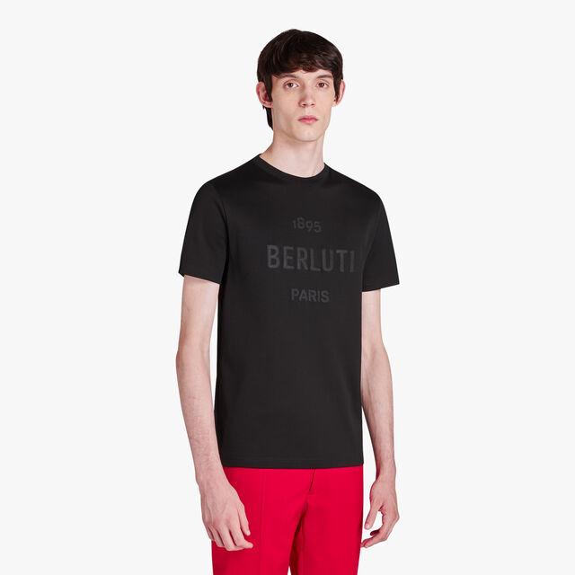 T-Shirt En Coton Avec Logo Brodé, NOIR, hi-res