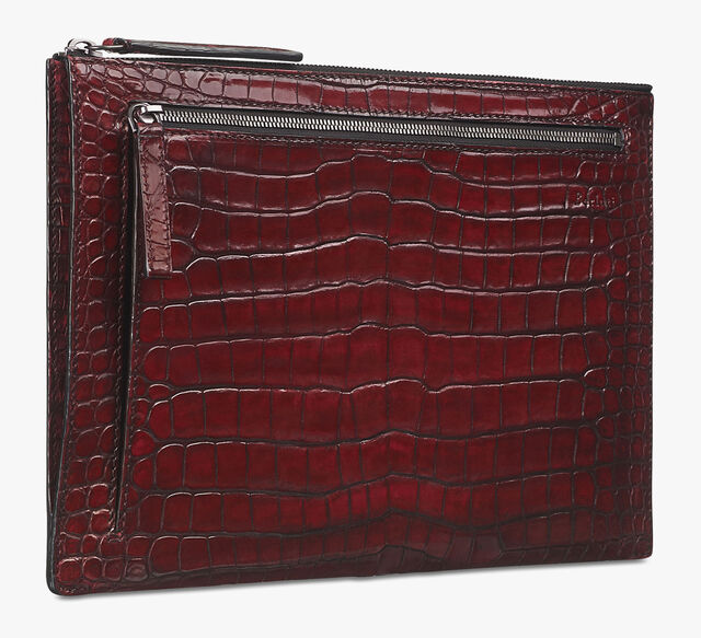 Band Large Alligator Leather Clutch, BLOOD, hi-res